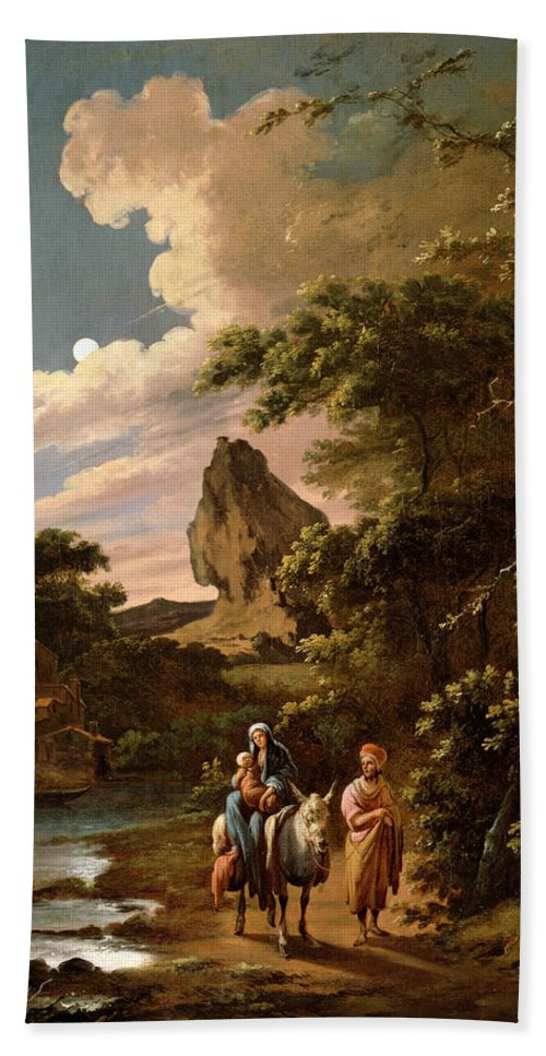 Adam Colonia Hand Towel featuring the painting The Flight Into Egypt by Adam Colonia