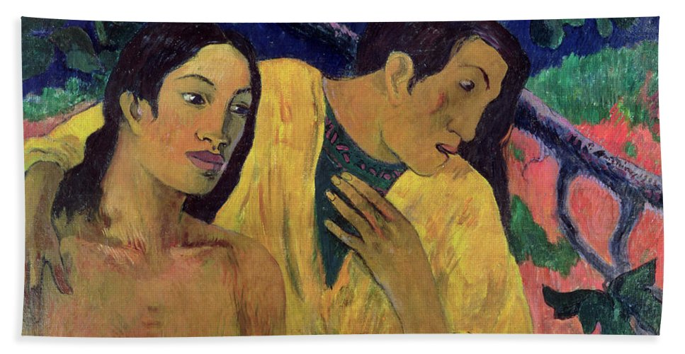 Flight Bath Sheet featuring the painting The Flight by Paul Gauguin