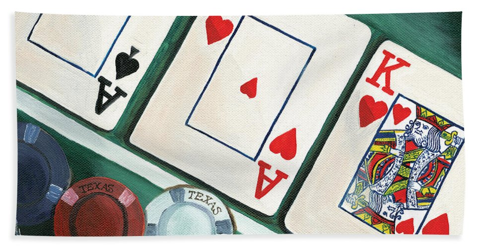 Texas Hold Em Bath Sheet featuring the painting The Flop by Debbie DeWitt