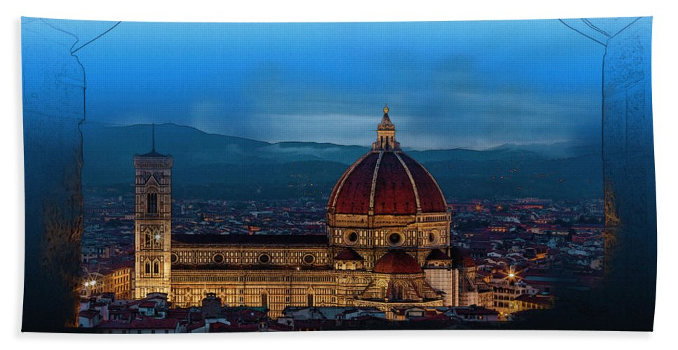 Decoration Hand Towel featuring the digital art The Florence Cathedral by Don Kuing