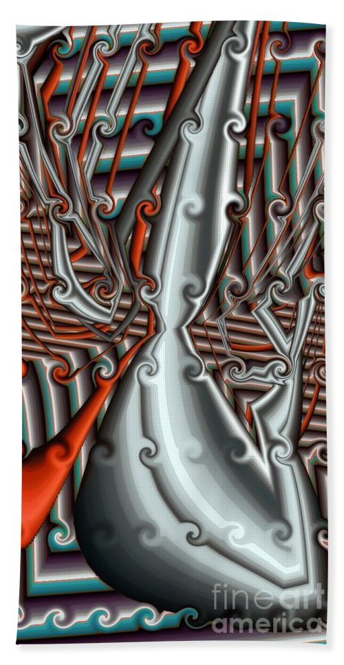 Abstract Bath Sheet featuring the digital art The Flow by Ron Bissett