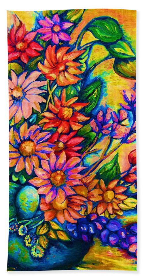 Beautiful Flowers.floral Bouquet Hand Towel featuring the painting The Flower Dance by Carole Spandau