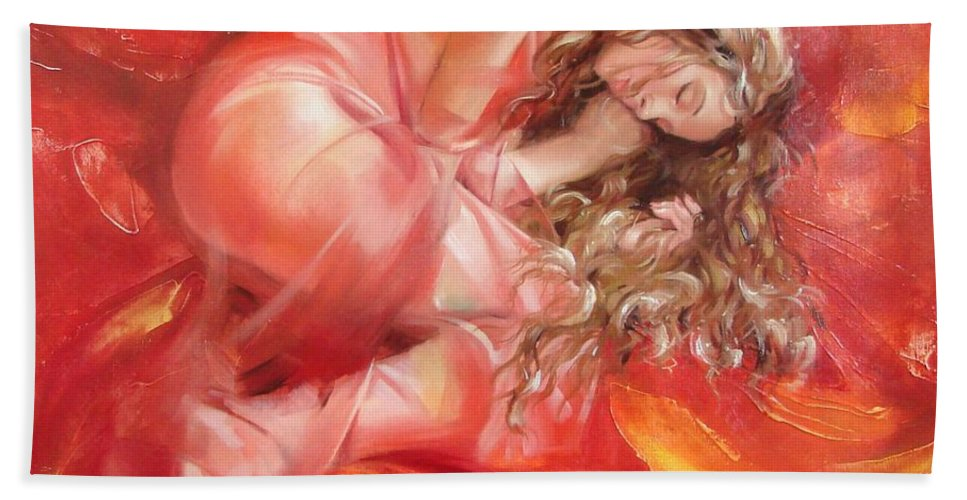Oil Bath Towel featuring the painting The flower paradise by Sergey Ignatenko