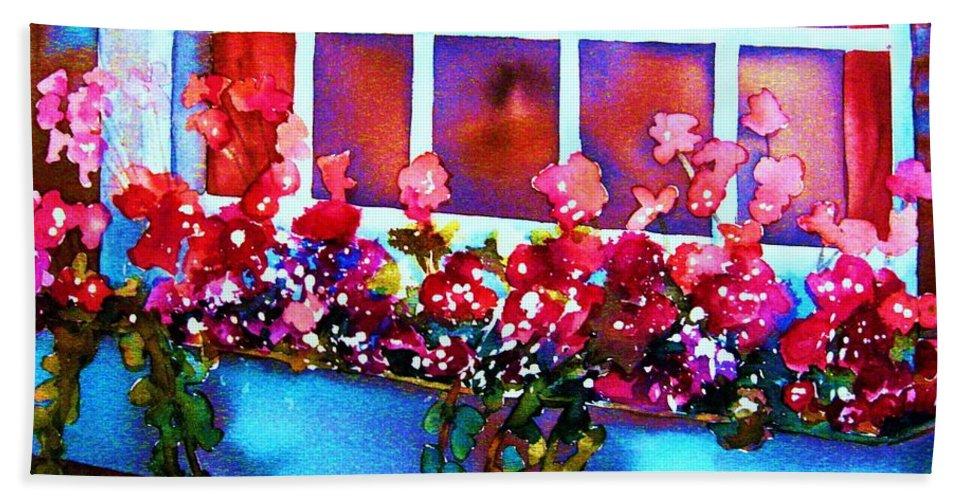 Flowerbox Bath Sheet featuring the painting The Flowerbox by Carole Spandau