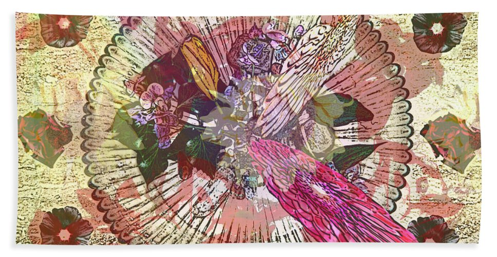 Flowers Hand Towel featuring the digital art The Flowerclock by Helmut Rottler