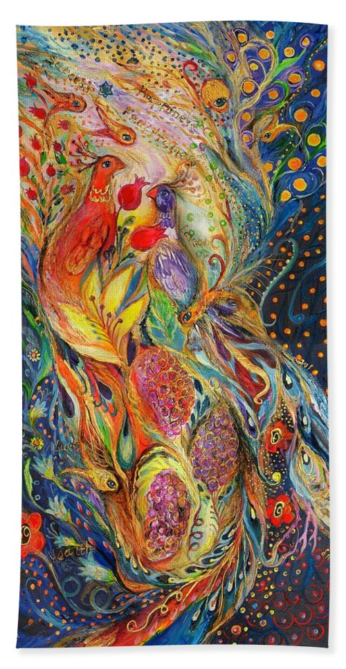 Original Bath Sheet featuring the painting The Flowers And Fruits by Elena Kotliarker