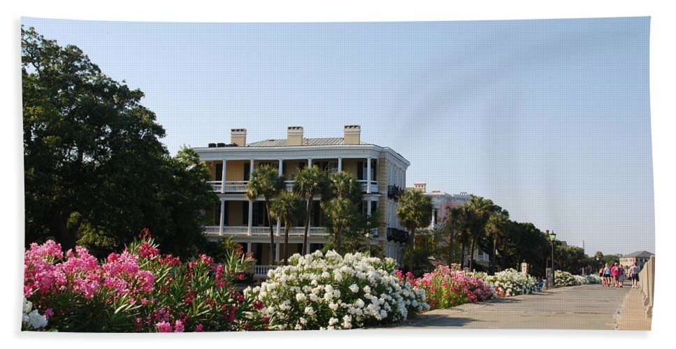 Photography Bath Sheet featuring the photograph The Flowers At The Battery Charleston Sc by Susanne Van Hulst