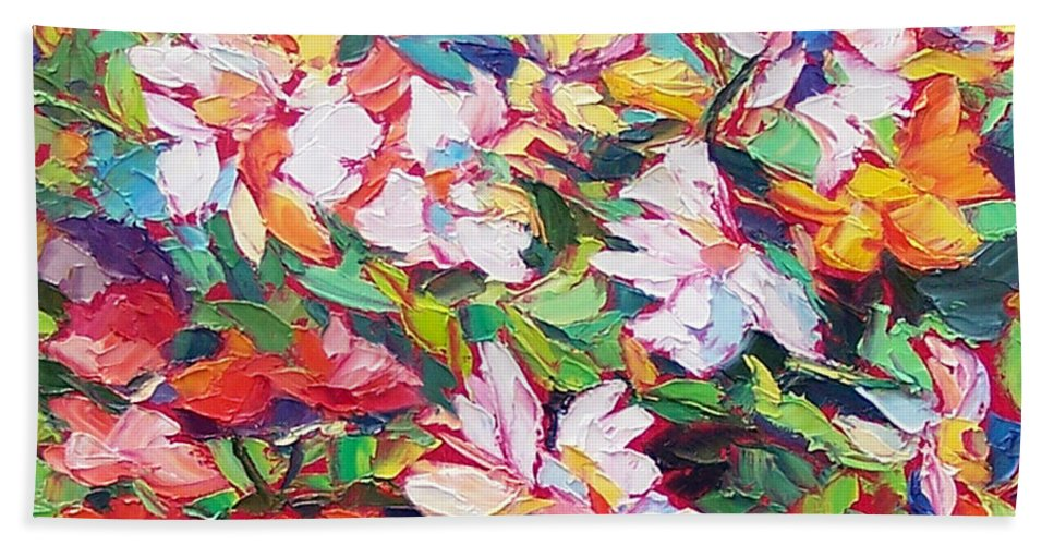Flowers Hand Towel featuring the painting The Flowers Bloom by Elizabeth Elkin