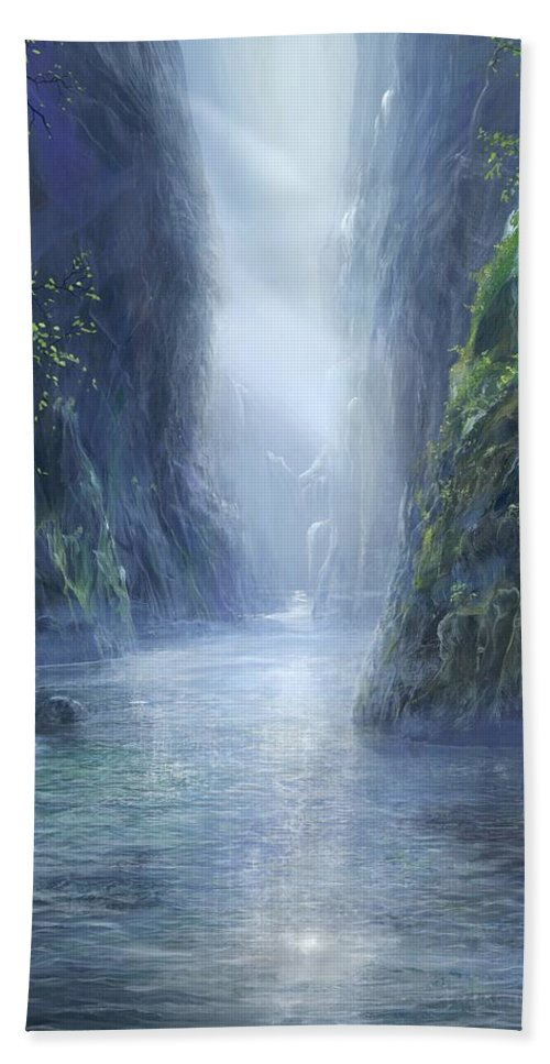Blue Hand Towel featuring the painting The Flowing Of Time by Silvian Sternhagel