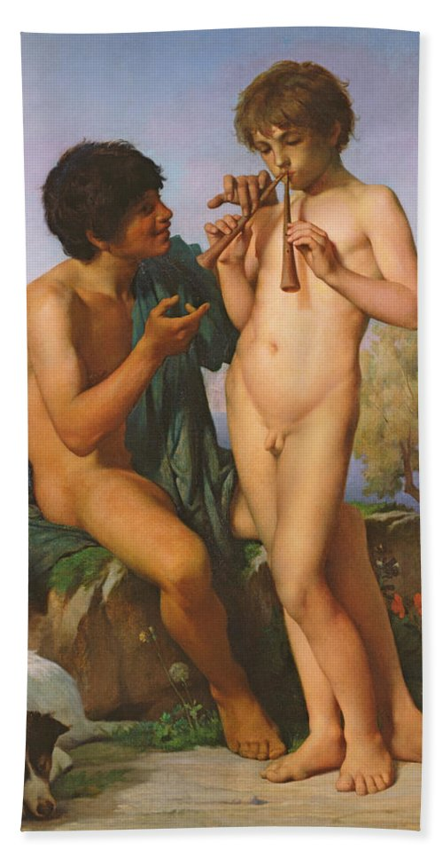 Boy Hand Towel featuring the painting The Flute Lesson by Jules Elie Delaunay
