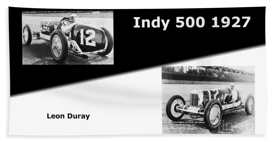 The Flying Frenchman Indy 500 1927 Leon Duray Hand Towel featuring the photograph The Flying Frenchman Indy 500 1927 Leon Duray by R Muirhead Art