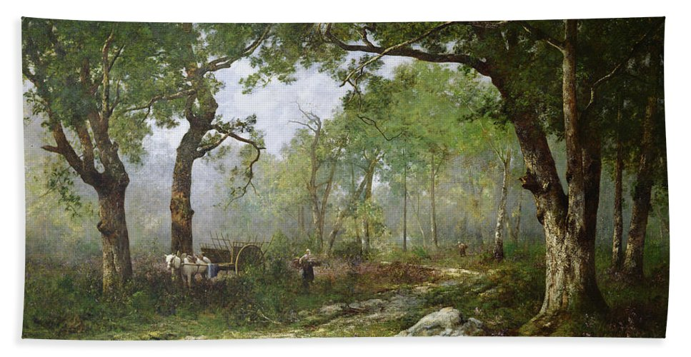 The Forest Of Fontainebleau Bath Sheet featuring the painting The Forest Of Fontainebleau by Leon Richet