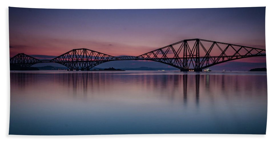 Landmarks Bath Sheet featuring the photograph The Forth Bridge Before Sunrise by Gaspix15
