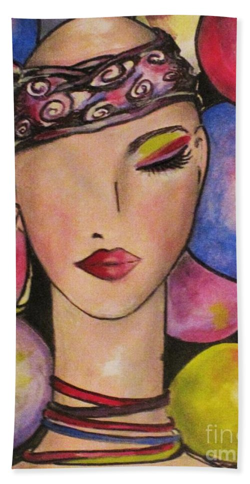 Woman Lady Girl Female Fortune Teller Imagine Headband Mind Reading Hand Towel featuring the painting I Have A Future by Liz Lafalce