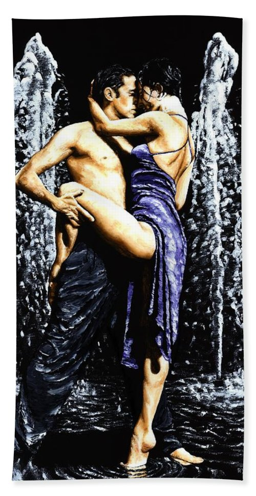 Tango Bath Sheet featuring the painting The Fountain Of Tango by Richard Young