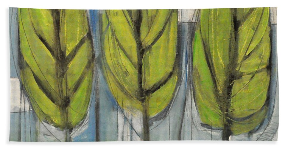 Trees Bath Sheet featuring the painting the Four Seasons - spring by Tim Nyberg
