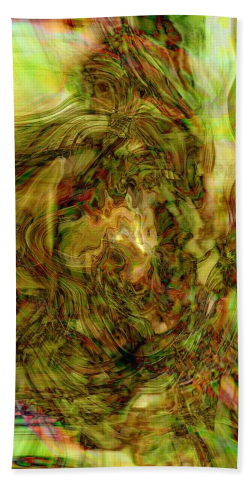 Abstract Art Bath Sheet featuring the digital art The Fox by Linda Sannuti