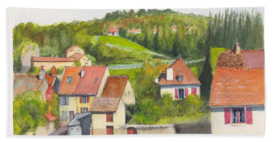 France Hand Towel featuring the painting The French Village Of Billy In The Auvergne by Dai Wynn