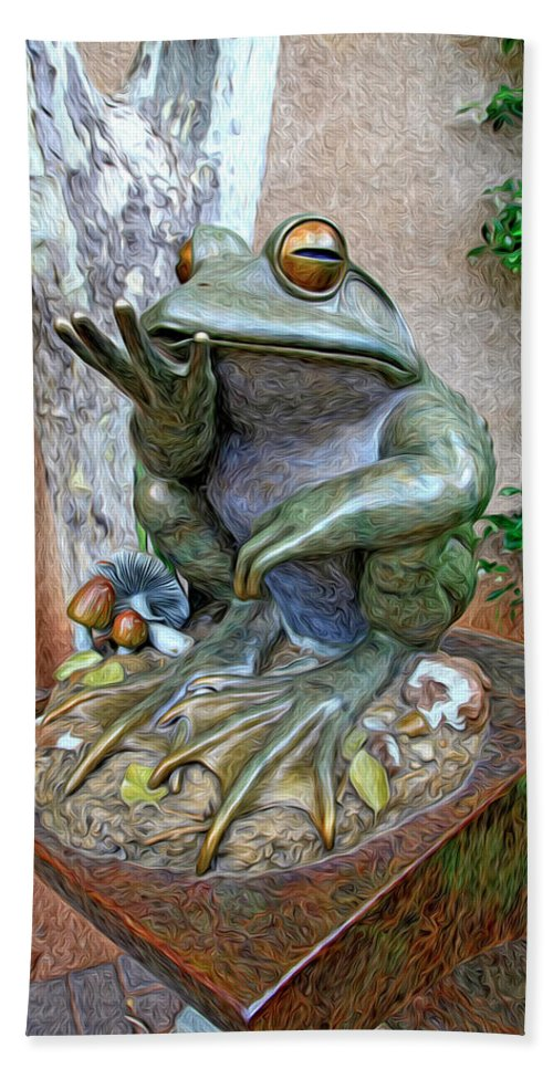 Fine Art Frog Photography. Frog Art. Wall Art Photography. Mixed Media Photography. Mixed Media Note Cards. Mixed Media Greeing Cards. Colord Frogs. Painted Frogs. Wall Art Frogs. Fine Art Frogs. Frogs. Fish. Water. Ponds. Frog Ponds. Water Fountion. Trees. Wall. Hand Towel featuring the photograph The Frog by James Steele