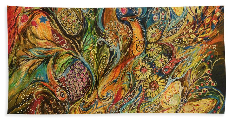 Original Bath Sheet featuring the painting The Fruits Of Holy Land by Elena Kotliarker