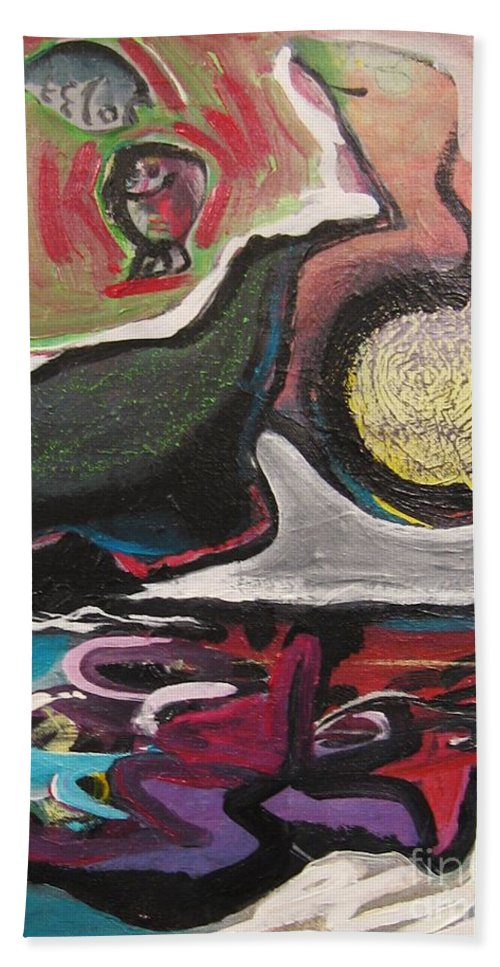 Abstract Paintings Bath Sheet featuring the painting The Full Moon2 by Seon-Jeong Kim