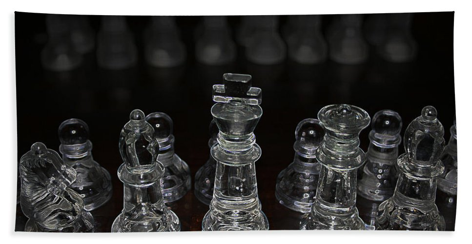 Game Chess King Queen Knight Board Match Players Pawn Bishop Bath Sheet featuring the photograph The Game by Andrea Lawrence