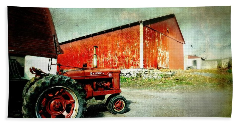 Tractor Bath Sheet featuring the photograph The Garage by Diana Angstadt