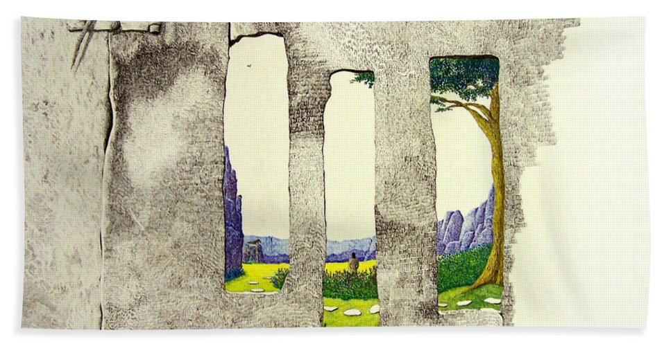 Imaginary Landscape. Bath Towel featuring the painting The Garden by A Robert Malcom