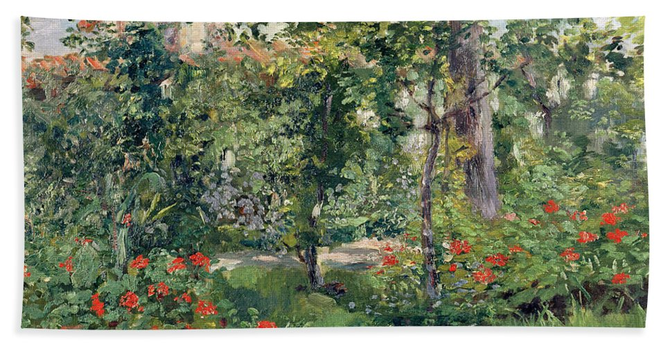 Garden Bath Towel featuring the painting The Garden At Bellevue by Edouard Manet