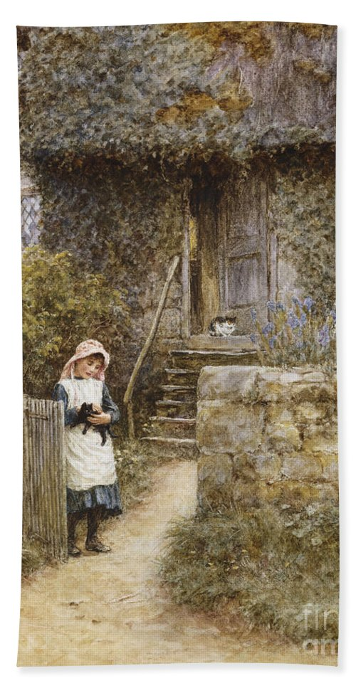 Cottage; English; Landscape; Rural; Girl; Child; C19th; C20th; Path; Bonnet; Kitten; Cat; Ivy; Creeper; Victorian Bath Sheet featuring the painting The Garden Gate by Helen Allingham