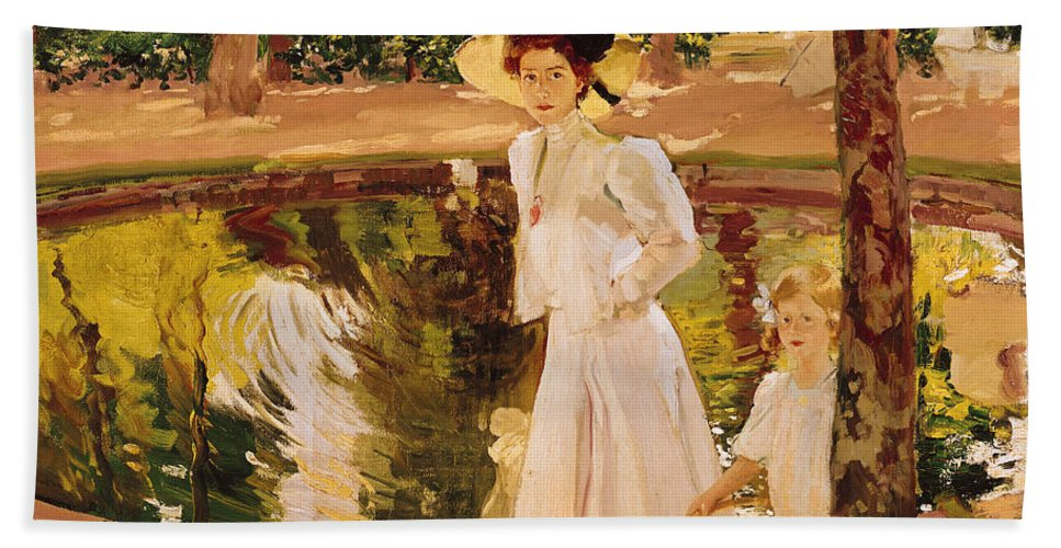 Garden Hand Towel featuring the painting The Garden by Joaquin Sorolla y Bastida