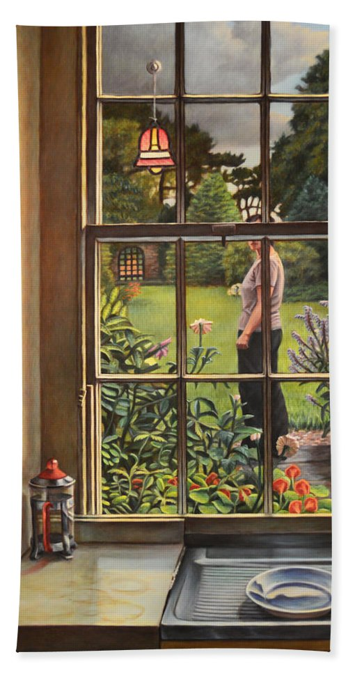 Figure Hand Towel featuring the painting The Garden by Kenneth Cobb