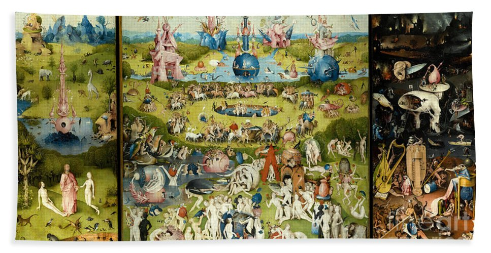 Hieronymous Bosch Bath Towel featuring the painting The Garden Of Earthly Delights 1490-1510 By Hieronymus Bosch by ArtAnthology