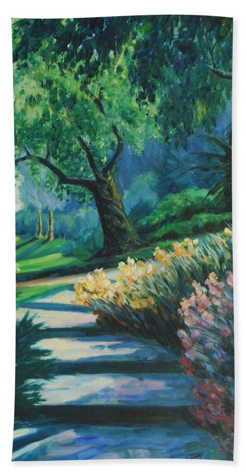 Trees Bath Towel featuring the painting The Garden by Rick Nederlof