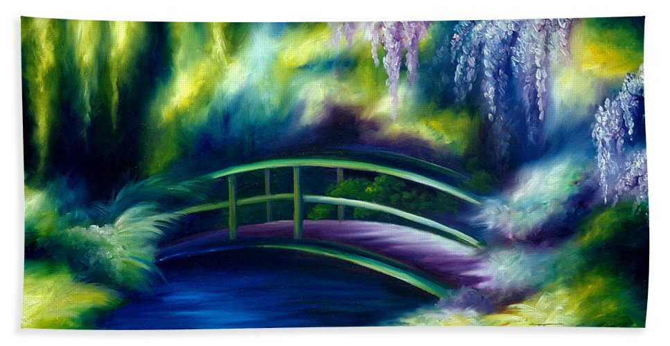 Sunrise Hand Towel featuring the painting The Gardens of Givernia by James Christopher Hill