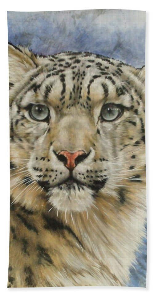 Snow Loepard Bath Towel featuring the mixed media The Gaze by Barbara Keith