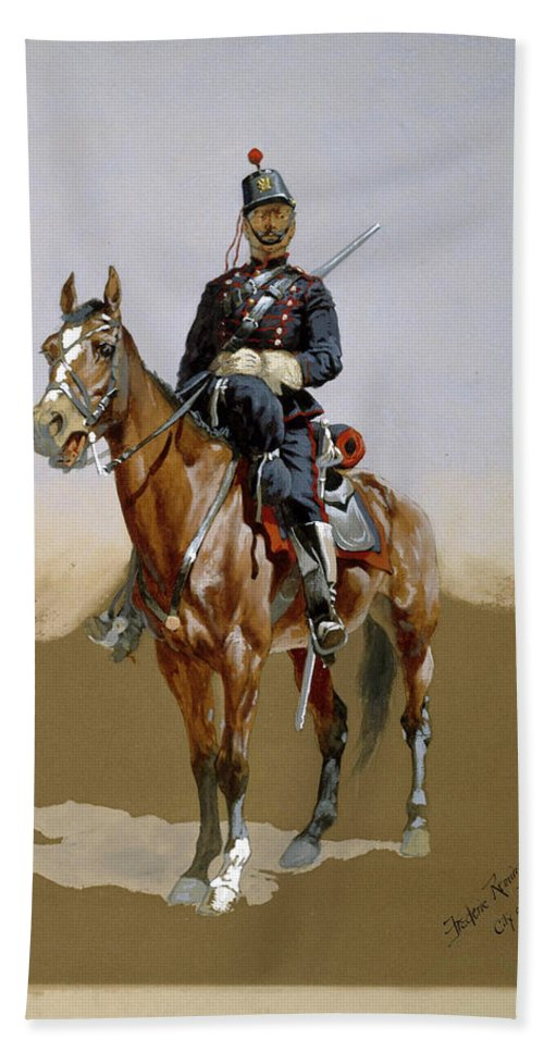 Horse Bath Sheet featuring the painting The Gendarme by Frederic Sackrider Remington