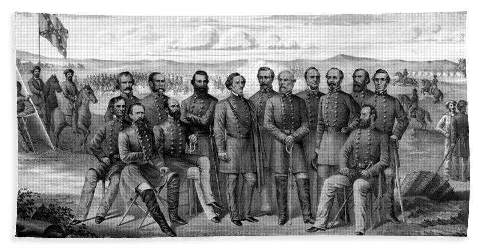 Civil War Bath Towel featuring the mixed media The Generals Of The Confederate Army by War Is Hell Store
