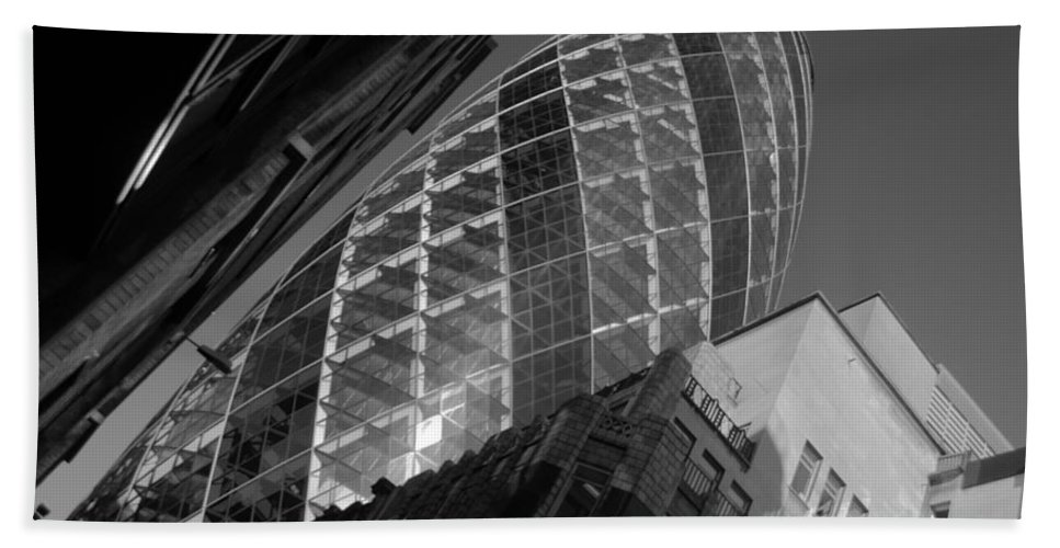 Gherkin Bath Sheet featuring the photograph The Gherkin Black And White by Chris Day