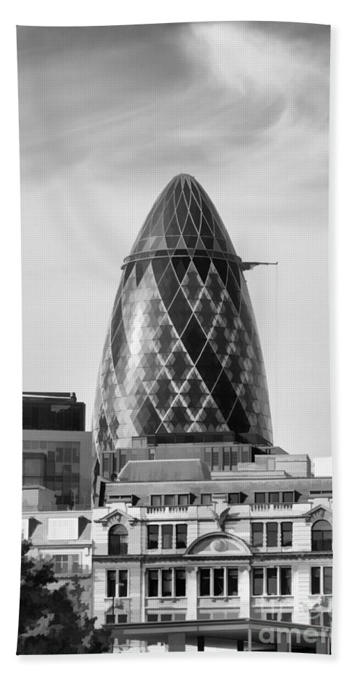The Gherkin Bath Sheet featuring the photograph The Gherkin by Diane Macdonald