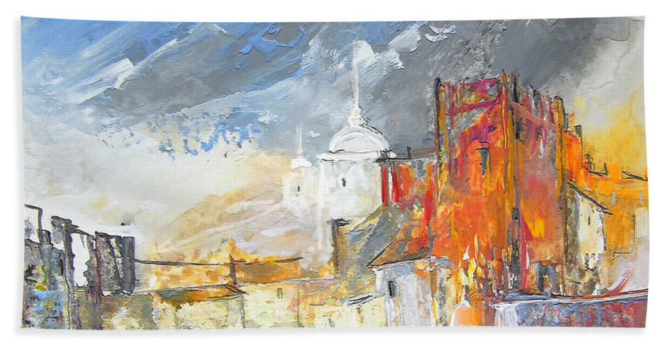 Gouache Bath Sheet featuring the painting The Ghost Of Religion In Spain by Miki De Goodaboom