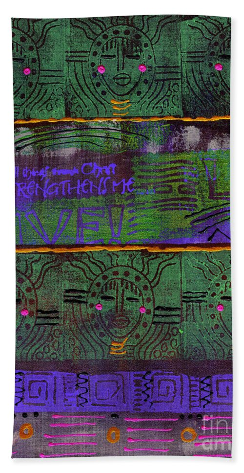 Gretting Cards Bath Sheet featuring the mixed media The Gift Of Strength by Angela L Walker