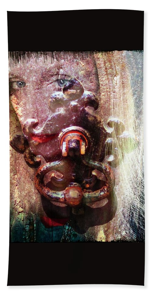 Ghost Hand Towel featuring the digital art The Girl Behind The Door Haunting by Pamela Smale Williams
