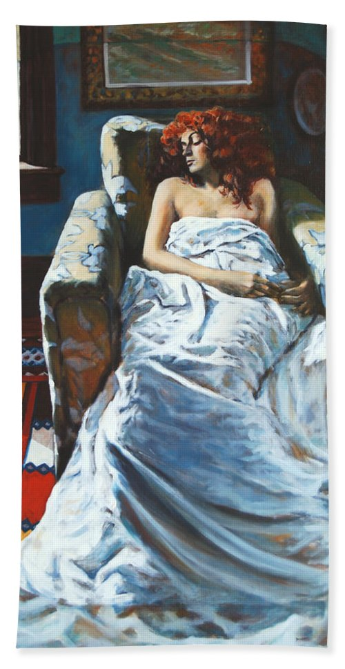 Window Bath Sheet featuring the painting The Girl In The Chair by Rick Nederlof