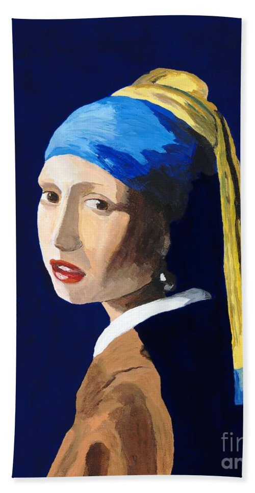 Vermeer Hand Towel featuring the painting The Girl With A Pearl Earring After Vermeer by Rodney Campbell
