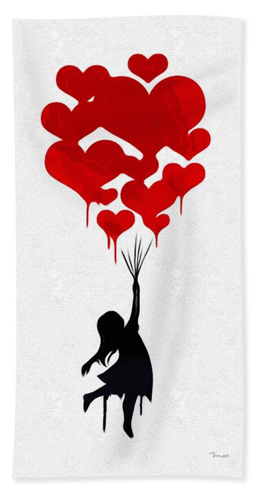 the Girl With The Red Balloons Hand Towel featuring the painting The Girl With The Red Balloons by Mark Taylor