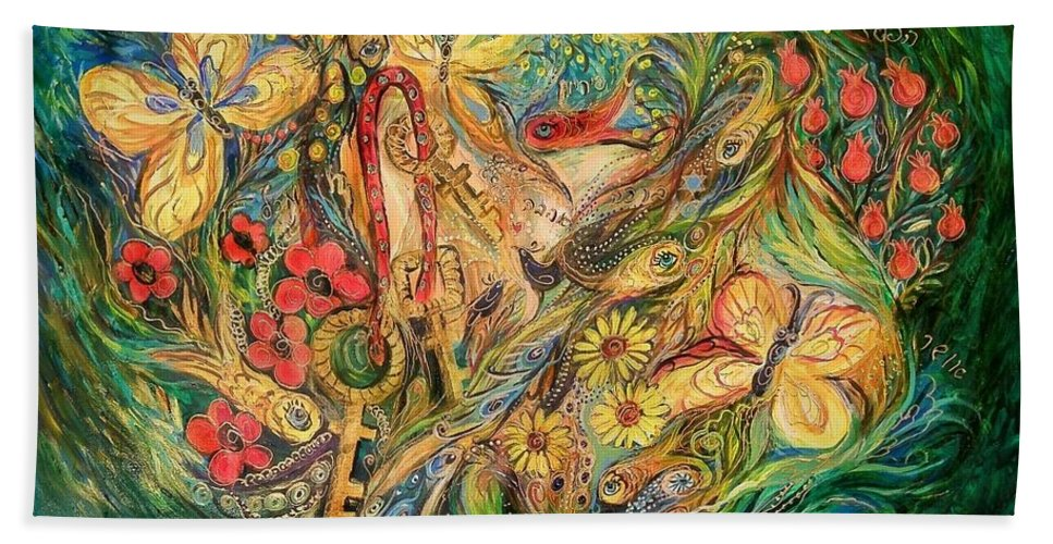 Original Bath Sheet featuring the painting The Glade by Elena Kotliarker