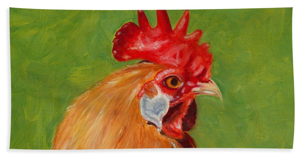Rooster Hand Towel featuring the painting The Gladiator by Paula Emery