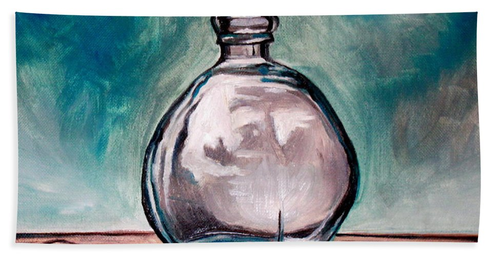 Glass Bath Sheet featuring the painting The Glass Bottle by Elizabeth Robinette Tyndall
