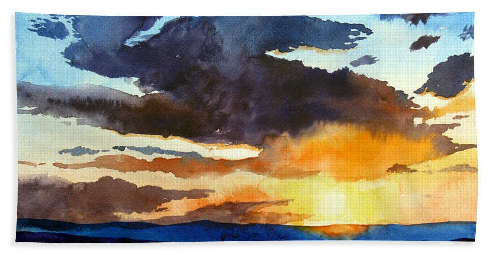 Sunset Hand Towel featuring the painting The Glory Of The Sunset by Christopher Shellhammer